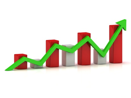 fluctuations: Business graph: fluctuations in growth and reduction of the green arrow Stock Photo