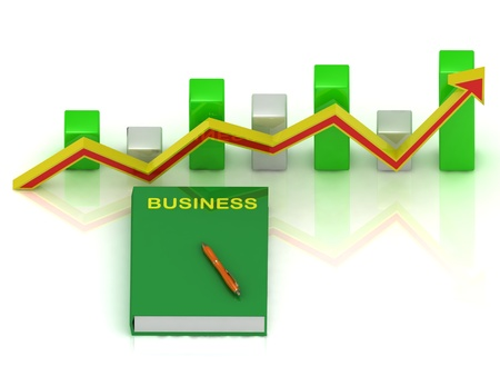 book business, pen and graph changes with an yellow-red arrow photo