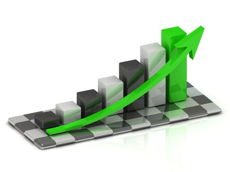 business graph with black and white columns and green arrow