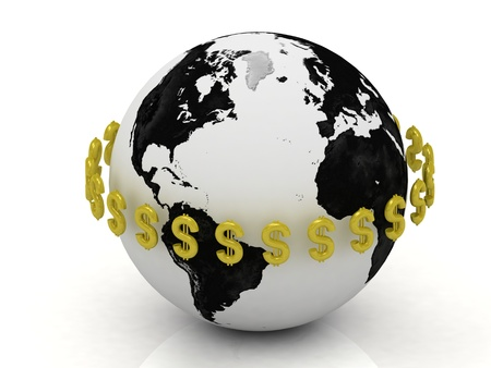 3D abstraction. Dollar signs in gold encircle the planet photo
