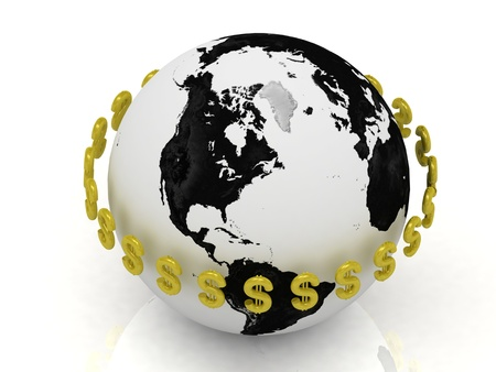 3D abstraction. Dollar signs in gold encircle the planet on a white background photo