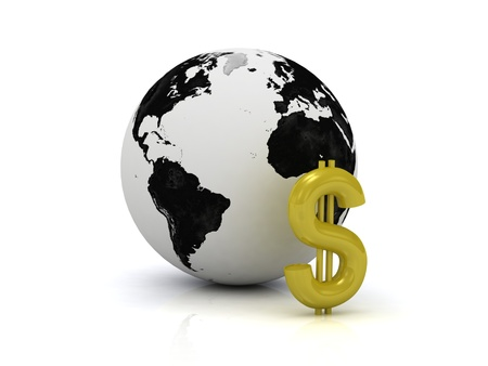 3D abstraction. Dollar signs in gold and the planet on a white background photo