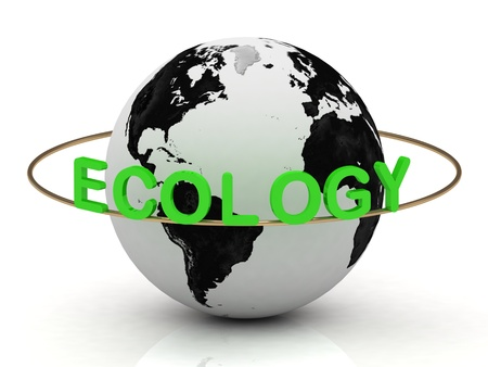 ECOLOGY inscription in green letters around the earth photo