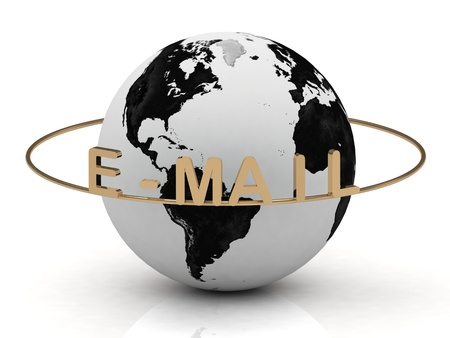E-MAIL inscription in gold letters around the earth photo