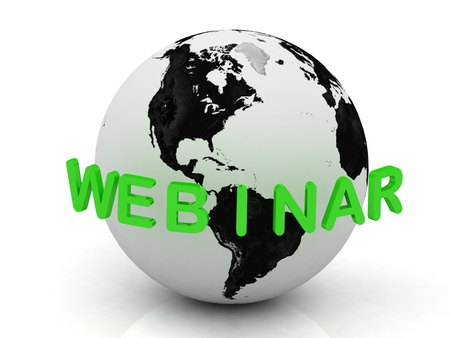 webinar: Green Webinar, abstraction of the inscription around the earth on a white background