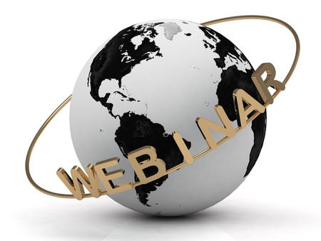 Gold Webinar and gold ring diagonally, abstraction of the inscription around the earth on a white background photo