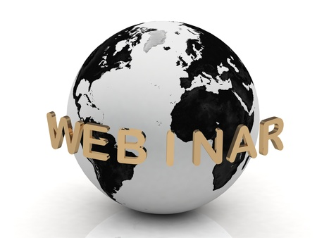 Gold Webinar, abstraction of the inscription around the earth on a white background