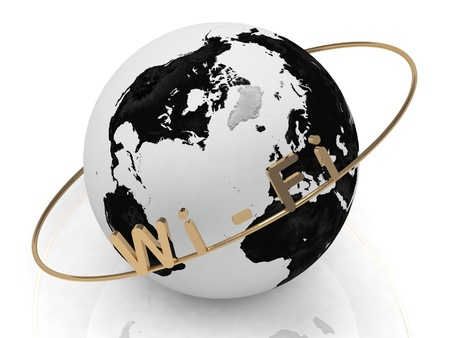 Gold WiFi and gold ring, abstraction of the inscription around the earth on a white background photo