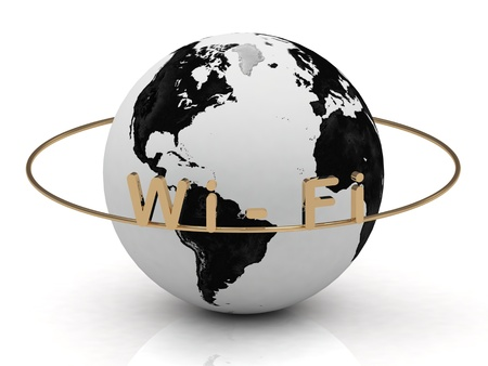 Wi Fi inscription in gold letters around the earth photo