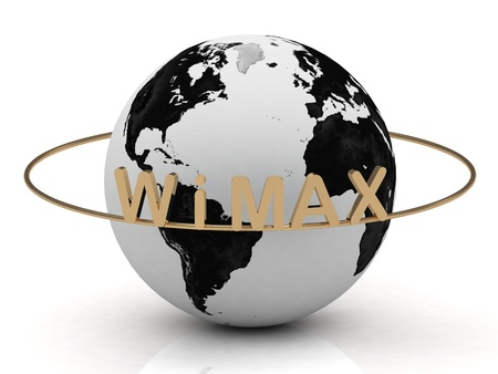 Gold WIMAX and gold ring, abstraction of the inscription around the earth on a white background photo