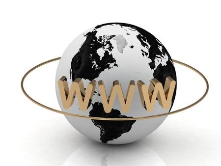 Astrazione oro WWW dell'iscrizione e l'anello intorno alla terra su uno sfondo bianco Archivio Fotografico