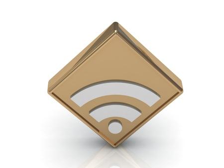 Gold RSS symbol Isolated on white, 3D rendered Illustration Stock Illustration - 14615894
