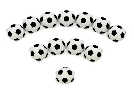 RSS symbol of soccer balls: 3D rendered Illustration Stock Illustration - 14624876