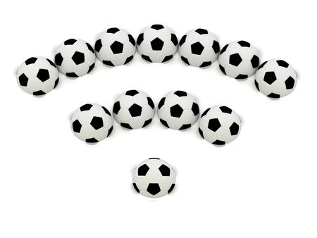 RSS symbol of soccer balls: 3D rendered Illustration illustration