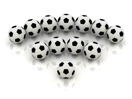 RSS sign of soccer balls: 3D rendered Illustration Stock Illustration - 14622031