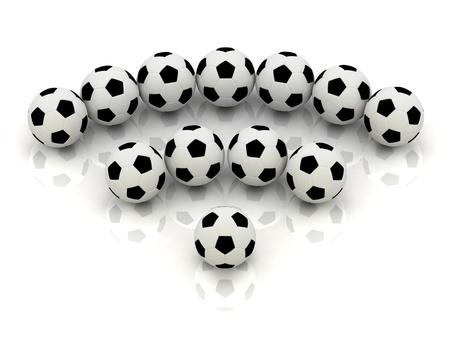 RSS sign of soccer balls: 3D rendered Illustration Stock Illustration - 14622031