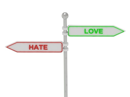 Signs with red hate and green love pointing in opposite directions, Isolated on white background, 3d rendering