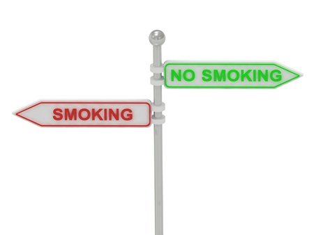 Signs with red &quot,SMOKING&quot, and green &quot,NO SMOKING&quot, pointing in opposite directions, Isolated on white background, 3d rendering Stock Photo