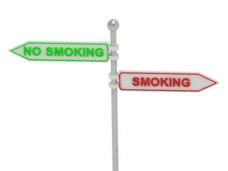 quot: Signs with red &quot,SMOKING&quot, and green &quot,NO SMOKING&quot, pointing in opposite directions, on white background, 3d rendering