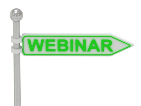 3d rendering of sign with green WEBINAR, Isolated on white background photo