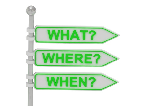 3 Directional signs what, where, when isolated over white, 3d render illustration  Stock Photo
