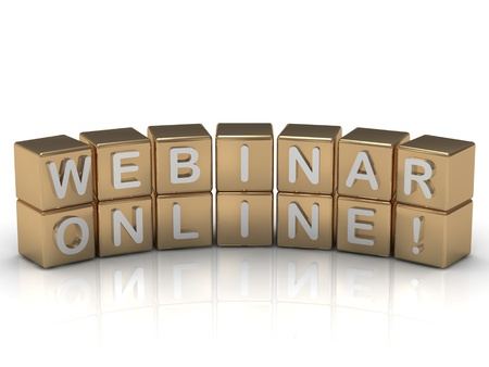 Inscription on the gold cubes: webinar online on a white background photo