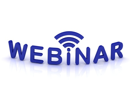 webinar sign with the antenna with blue letters on isolated white background photo