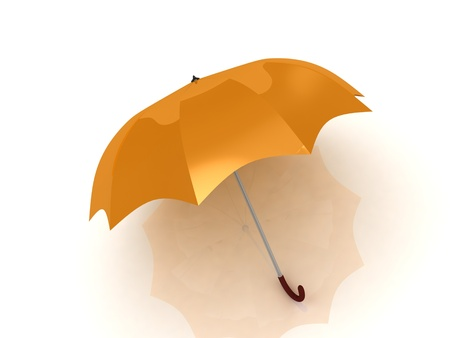 orange umbrella with wooden handle on white background Stock Photo - 14615672