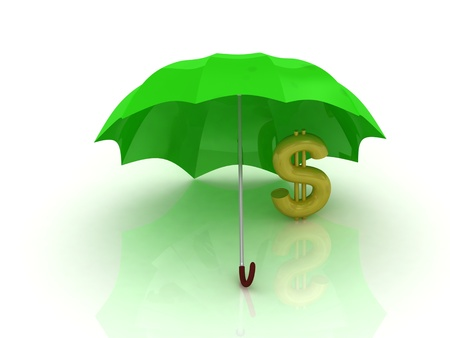 abstraction of a gold dollar under the green umbrella on a white background Stock Photo