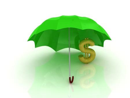 astrazione di un dollaro d'oro sotto l'ombrello verde su sfondo bianco Archivio Fotografico