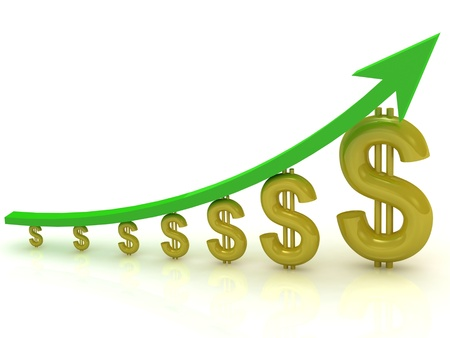 Chart the growth of the Dollar with the green arrow Stock Photo