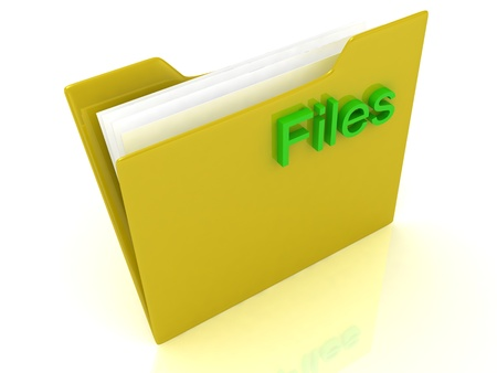 Yellow computer folder and green sign Files on a white background Stock Photo - 14622743