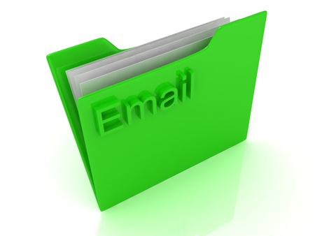 Email green computer folder labeled on a white background Stock Photo - 14626099