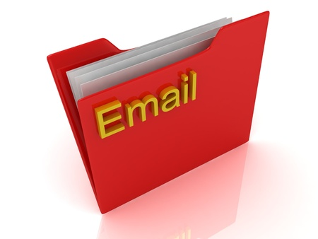 Email red computer folder labeled on a white background Stock Photo - 14624935