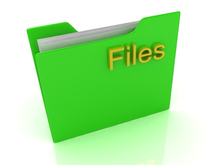 Green computer folder and yellow sign Files on a white background Stock Photo - 14626159