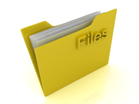 Yellow computer folder and yellow sign Files on a white background Stock Photo - 14626500