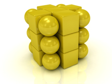Gold cube and balls on a white background  photo