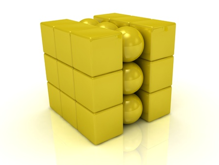 Gold cube and gold balls in the cube  photo