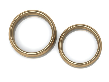 gold rings: Two wedding rings on the top view of a white background  Stock Photo