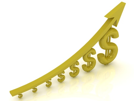 Illustration of the growth of the dollar with a gold arrow on white background  illustration