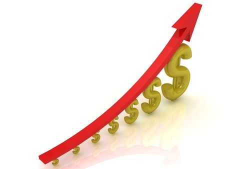 3D Illustration of the growth of the dollar with a red arrow on white background  illustration