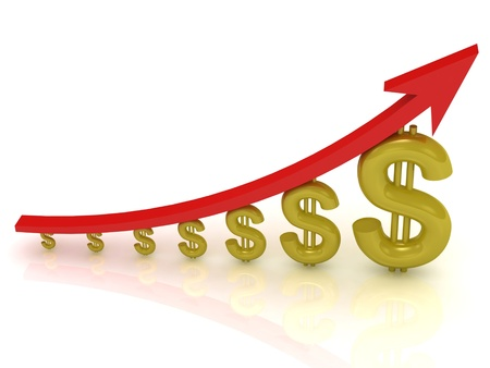 Illustration of the growth of the dollar with a red arrow on white background  Stock Photo