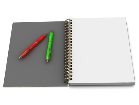 Notebook with spiral and two handles on a white background photo