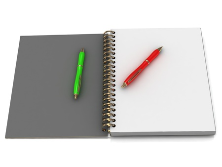 Notebook with spiral and two pen on a white background photo