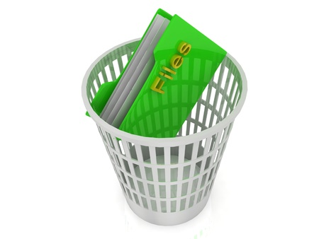 White basket with a folder for files photo