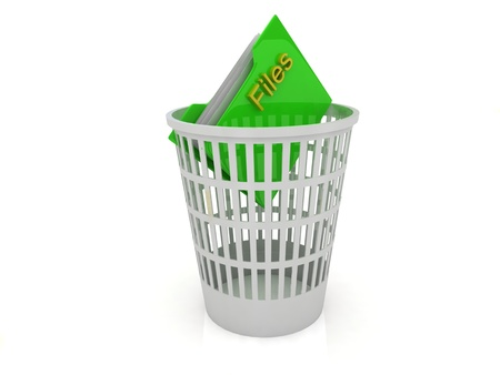 eliminate waste: Recycle Bin folder with the files on a white background