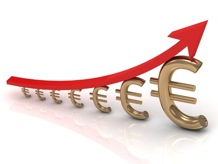 Illustration of the growth chart euros with a red arrow Stock Photo