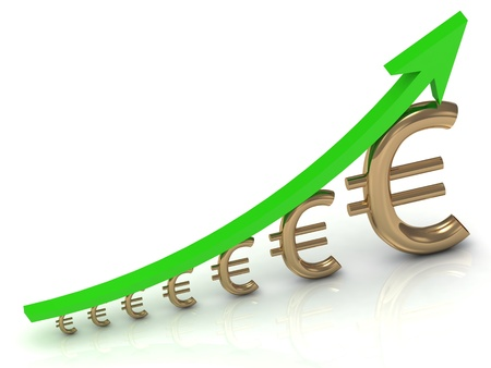 Illustration of the euro to increase profits with the green arrow