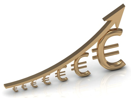 Revenue growth in the euro golden arrow Stock Photo - 14622748