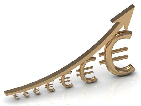Revenue growth in the euro golden arrow Stock Photo